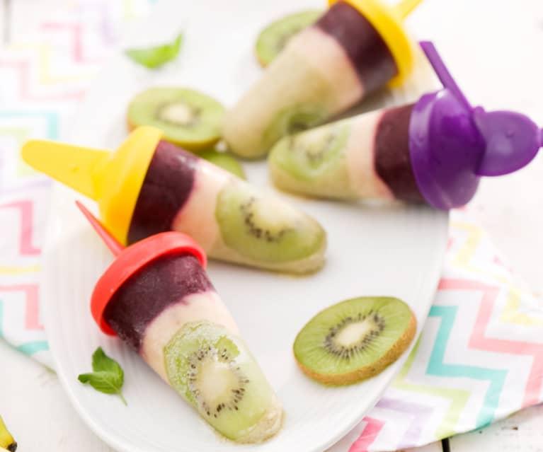 Trójkolorowe lody owocowe