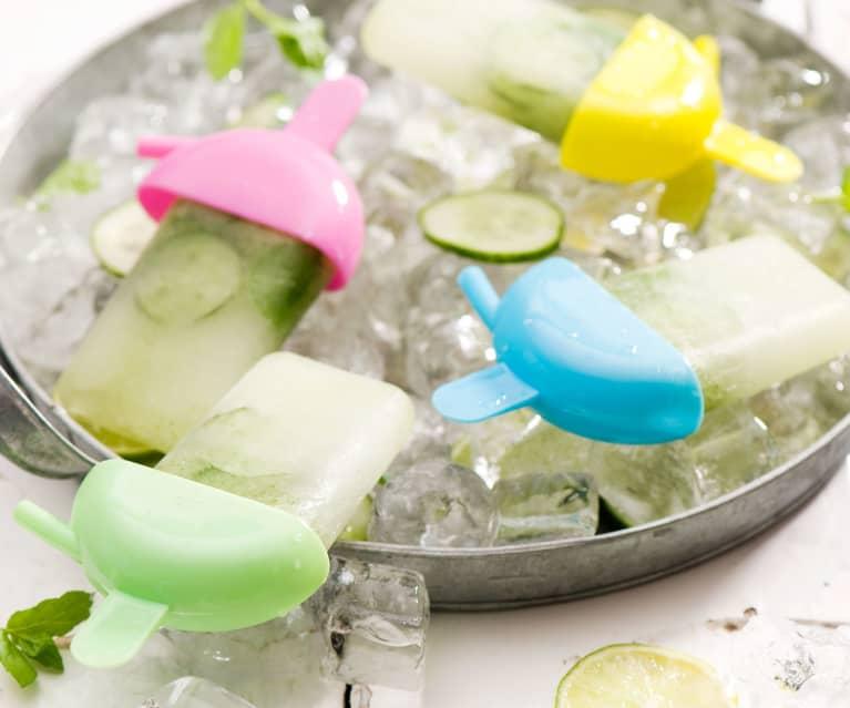 Lody na patyku z ginem i ogórkiem