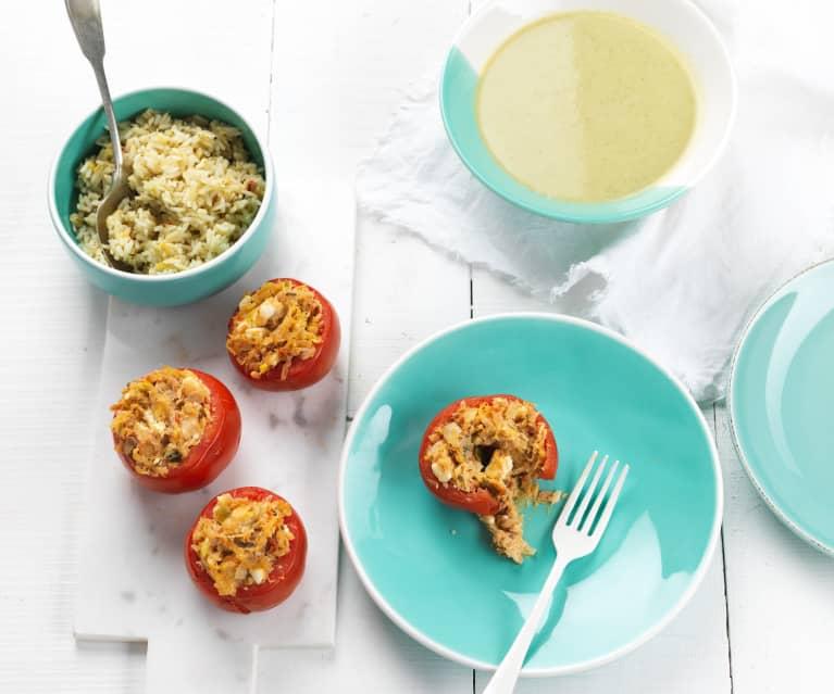 Creme de brócolos, couve-flor e curgete e tomate recheado com arroz de alho-francês e tomate