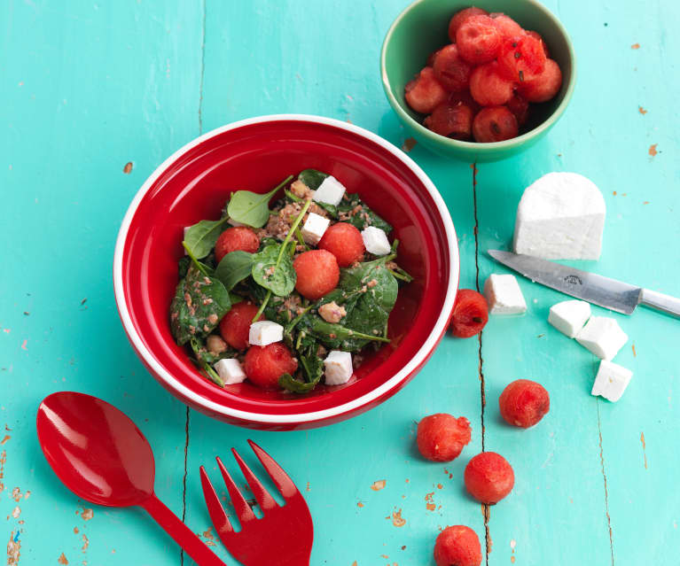 Salad with Bacon, Watermelon and Yoghurt Dressing