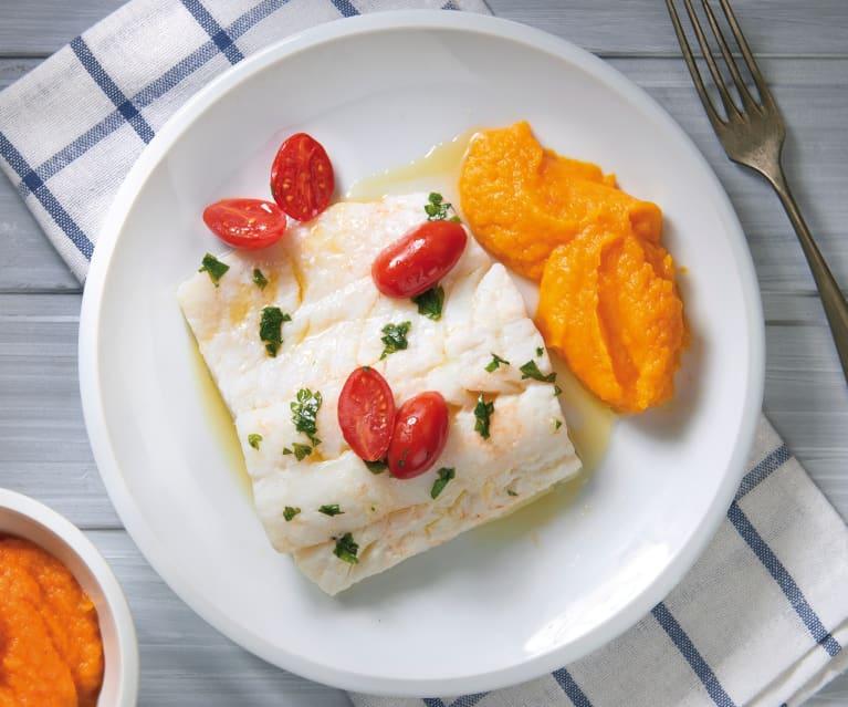 Merluzzo al Varoma con purè di carote