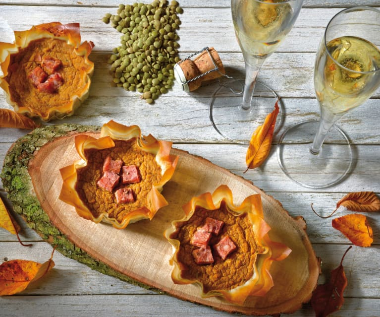 Cestini di pasta fillo con lenticchie e zampone