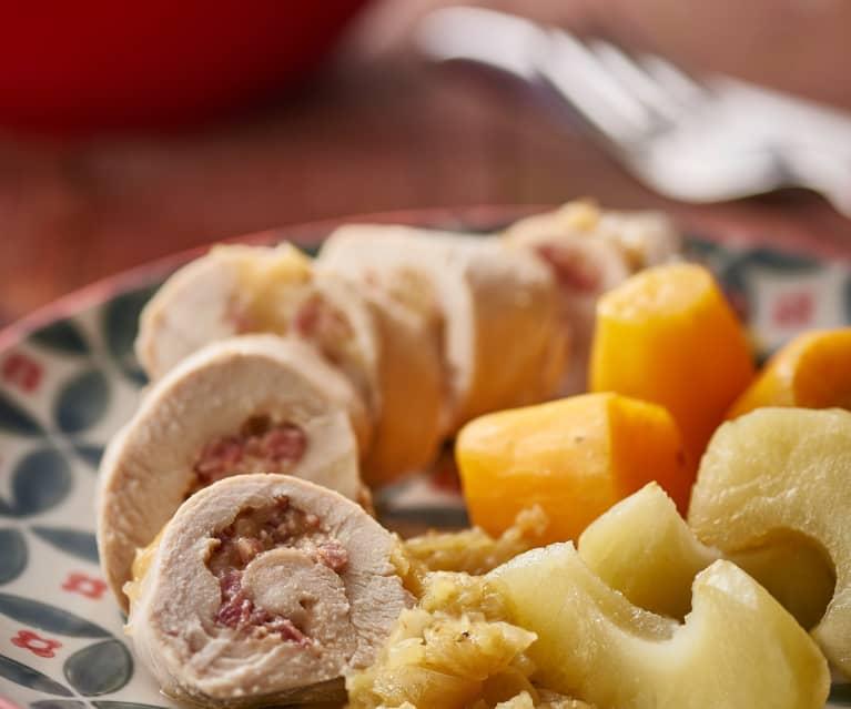 Kuřecí rolky s jablky, batáty a kari omáčkou