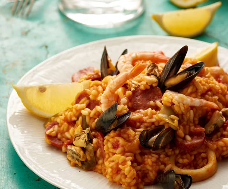 Mediterranean seafood rice with chorizo