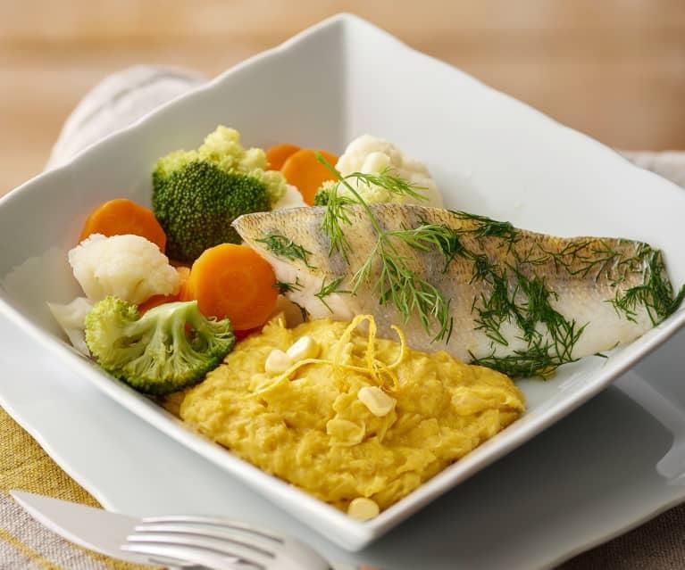Filetti di pesce persico con polenta di mais fresco