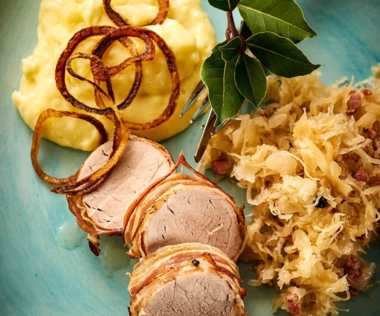 Filetto di maiale con crauti e purè di patate