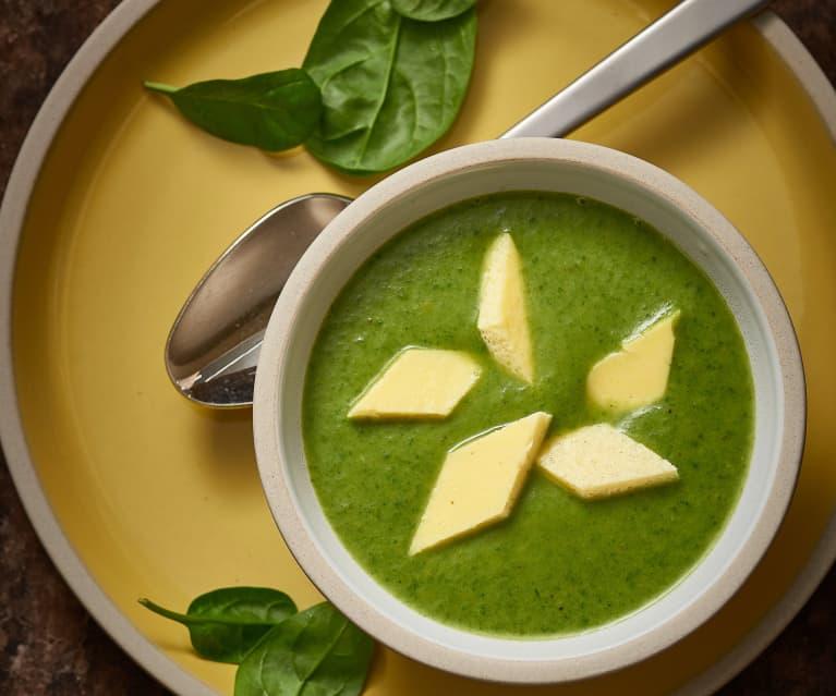 Spinat-Kartoffel-Suppe mit Eierstich