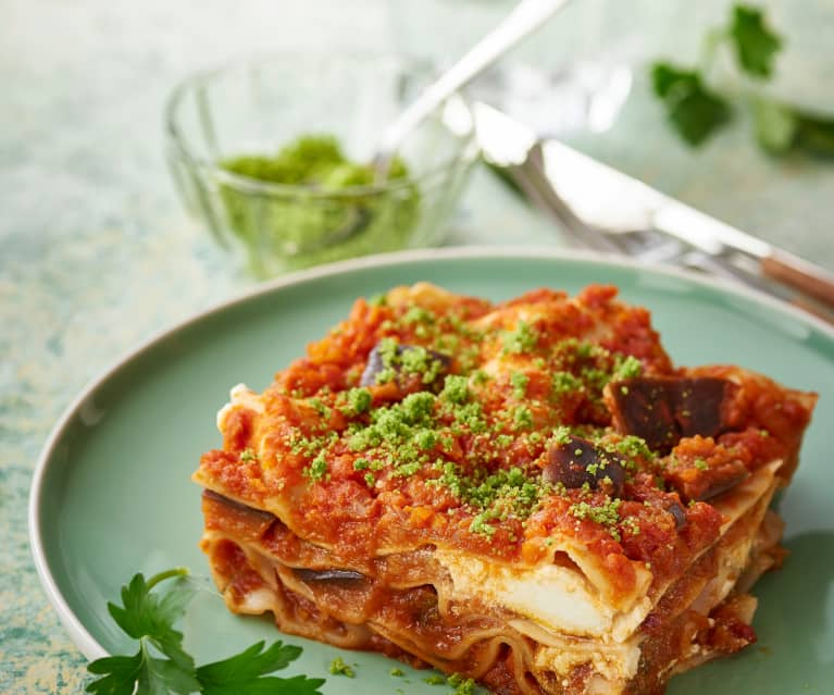Lasagne z bakłażanem i ricottą na parze