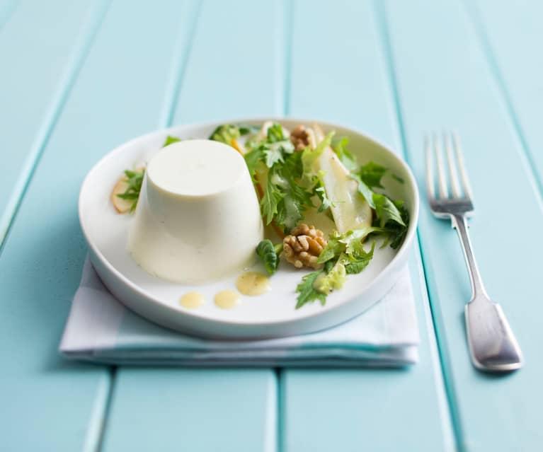 Gorgonzola panna cotta with pear & walnut salad