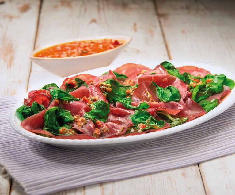 Bresaola con spinaci e bietoline