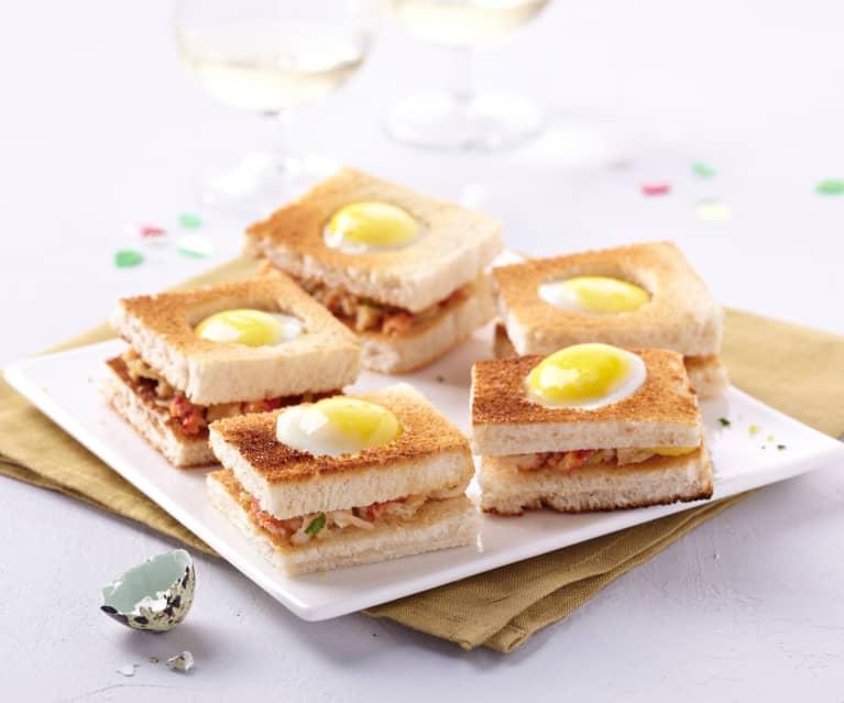 Toasts oeuf de caille et rillettes de crabe