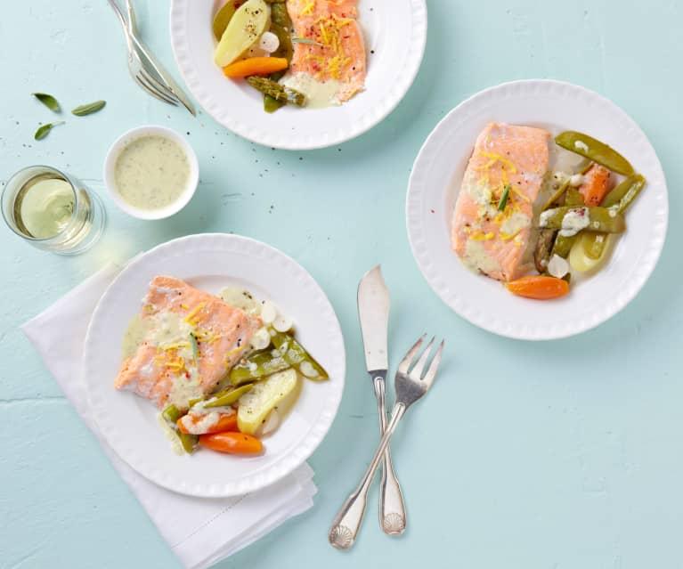 Truite aux petits légumes, sauge et citron.