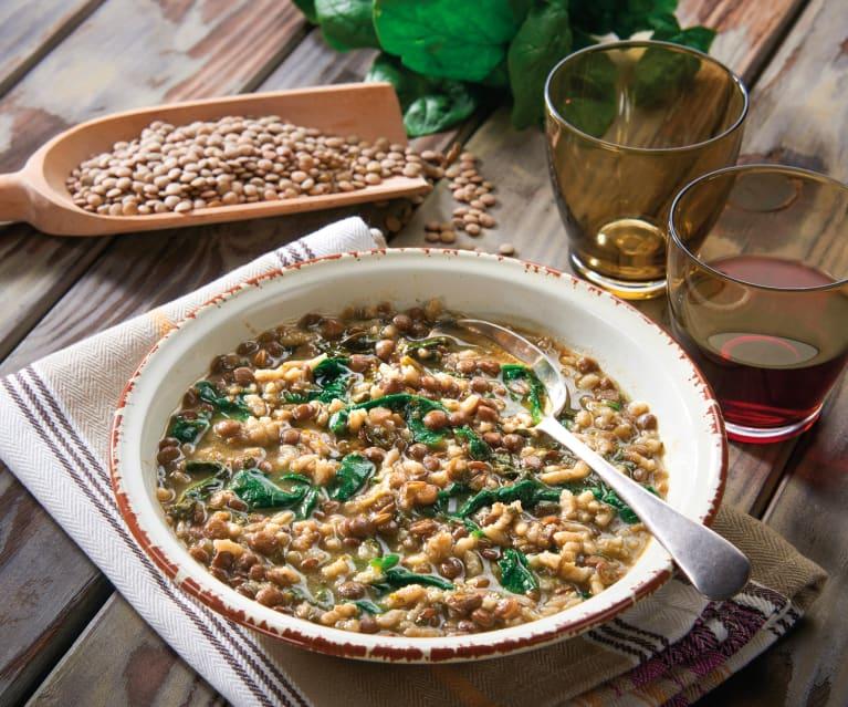 Zuppa di spinaci e lenticchie
