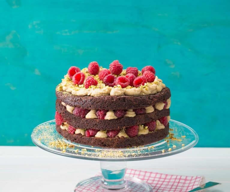 Torta multistrato al cioccolato, lampone e pistacchi (vegan)