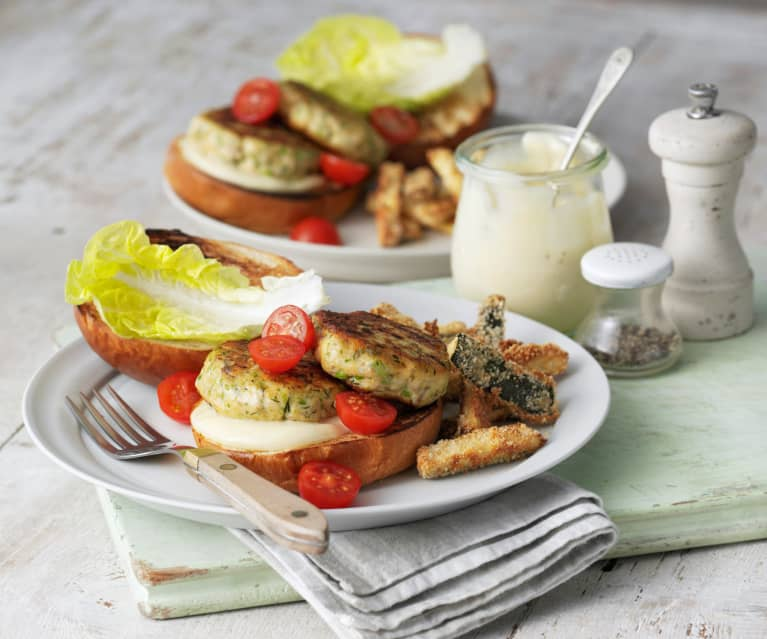 Cytrynowo-ziołowe burgery z łososia z cukinią w parmezanie