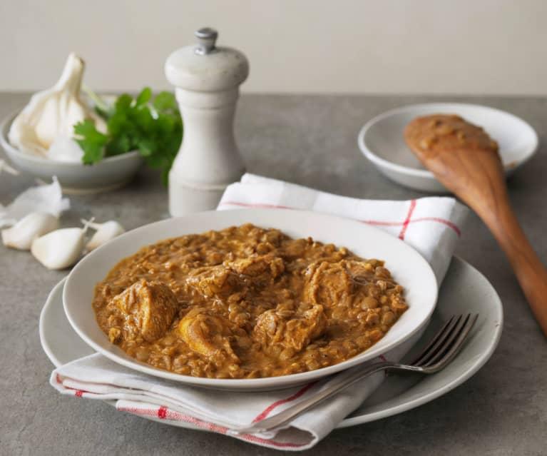Čočkové curry s kuřetem