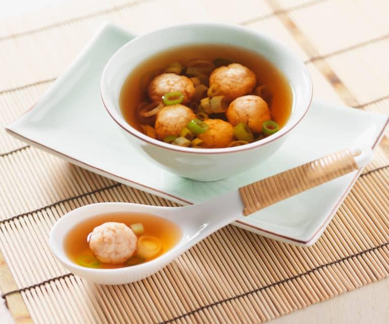 Garnelenklößchen-Suppe