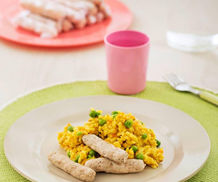 Ryż z pieczarkami, groszkiem i kiełbaskami z kurczaka