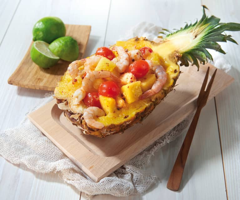 Gamberi e ananas al lime e pepe rosa