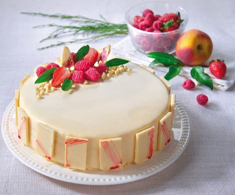 Torta bavarese al cioccolato bianco e frutti rossi