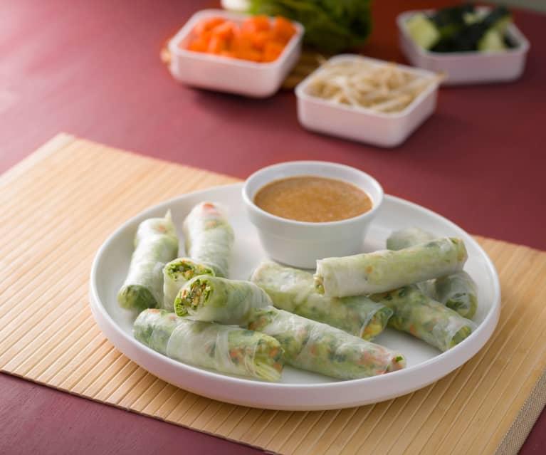 Rollitos fríos con salsa de cacahuetes (Goi cuon) - Vietnam