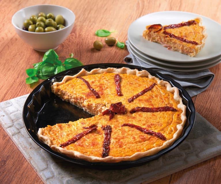 Torta salata con pomodorini e olive