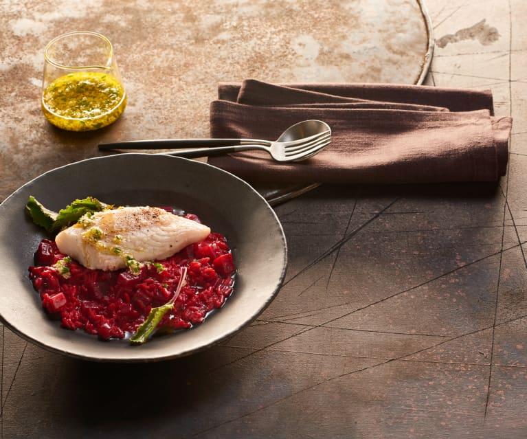 Rote-Bete-Risotto mit Kabeljau und Meerrettichöl