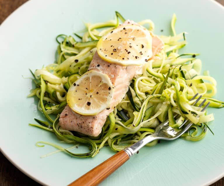Steamed Salmon with Courgetti