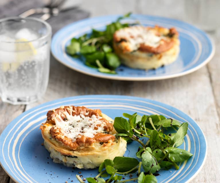 Twice-Baked Watercress, Goat's Cheese and Hazelnut Soufflé