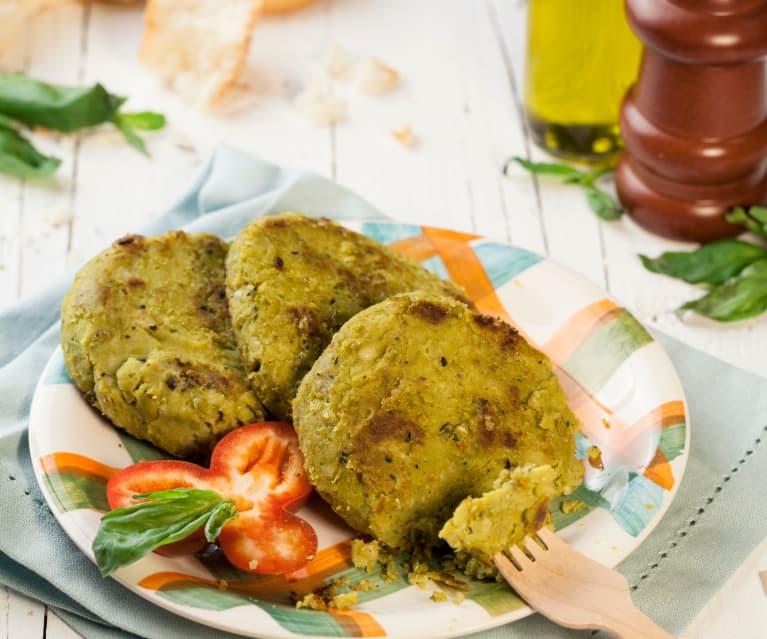 Burger di azuki verdi e pinoli al profumo di basilico