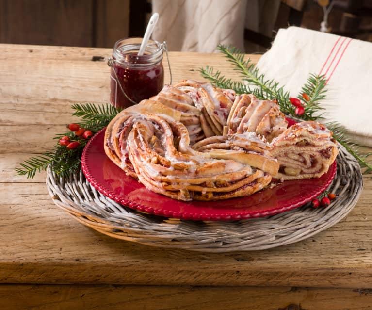 Kringle navideño de frambuesa
