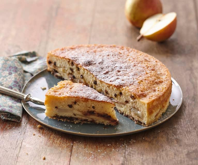 Gâteau fondant aux poires et pépites de chocolat