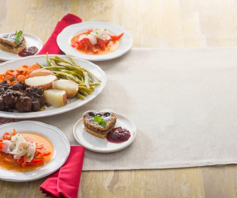 Menú: Pimientos con bacalao. Morcillo con verduras. Pastel de arándanos