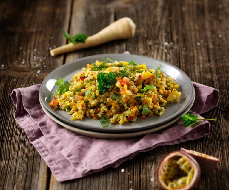 Lauwarmer Buchweizensalat mit Kräutern (vegan)