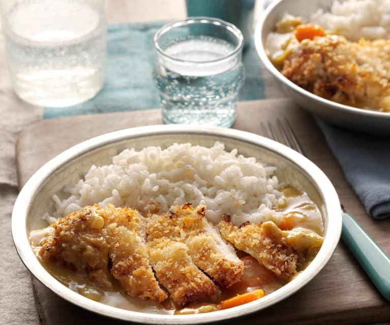 Pollo katsu con curry e riso