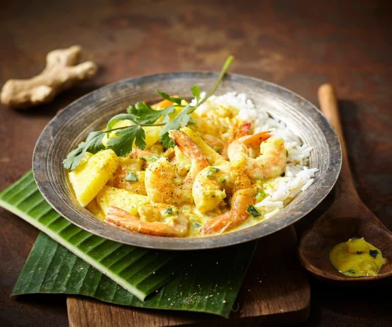 Cari de crevettes aux courgettes et ananas