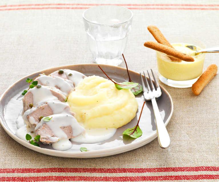 Filet mignon de porc au poivre, purée de pomme de terre, petit pot de crème au citron-cardamome