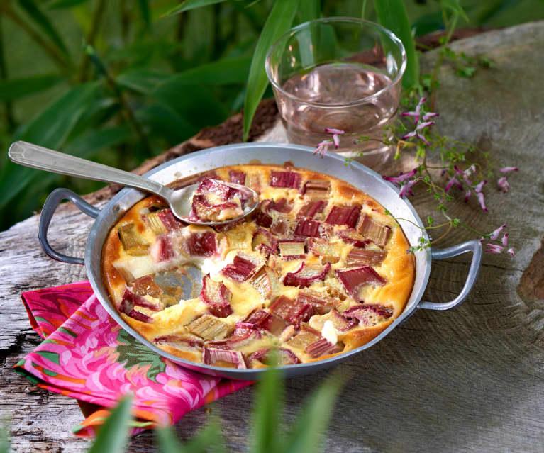 Clafoutis au fromage blanc, rhubarbe et safran
