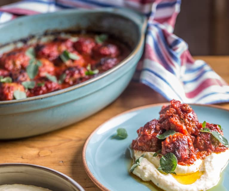 Meatballs, Tomato Sauce and Parmesan Polenta