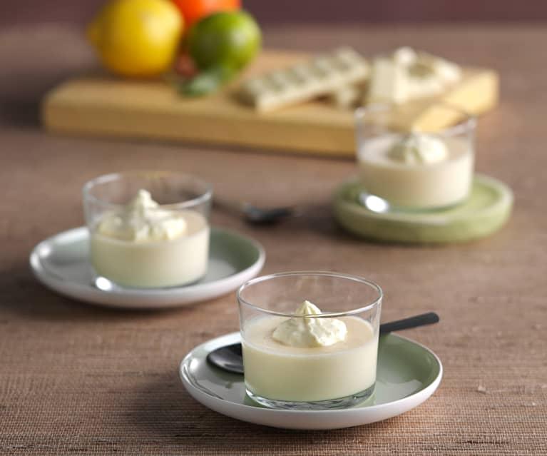 Natillas de chocolate blanco con nata de cítricos