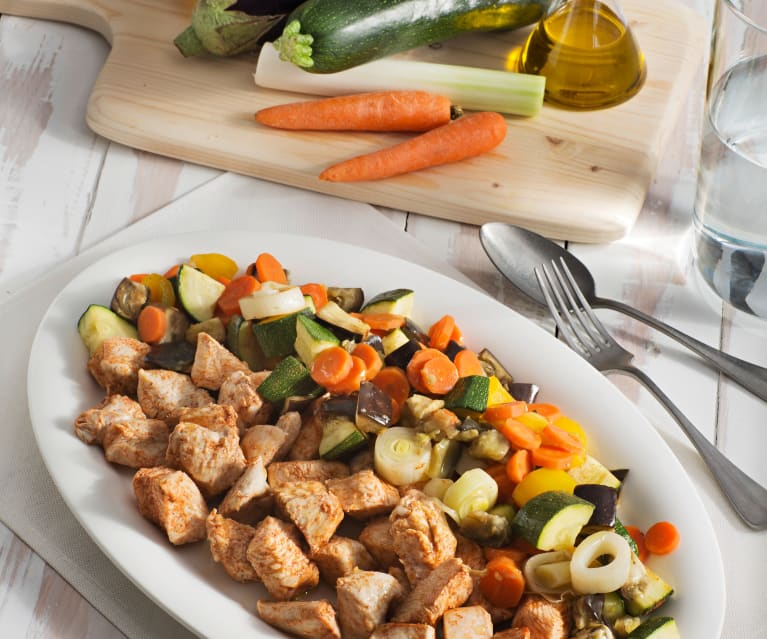 Verduras y pavo al vapor