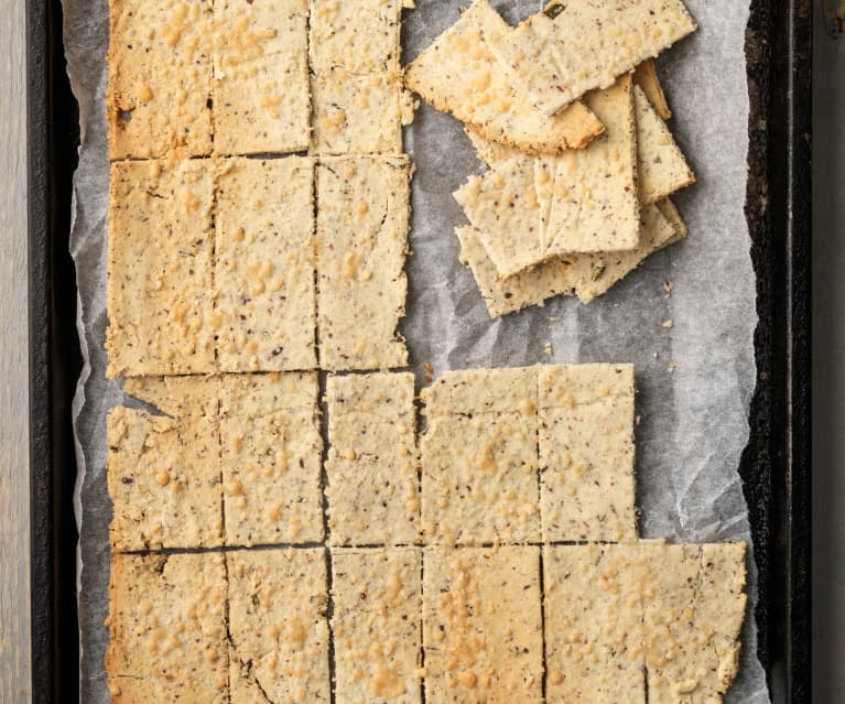 Rosemary and Parmesan Almond Pulp Crackers
