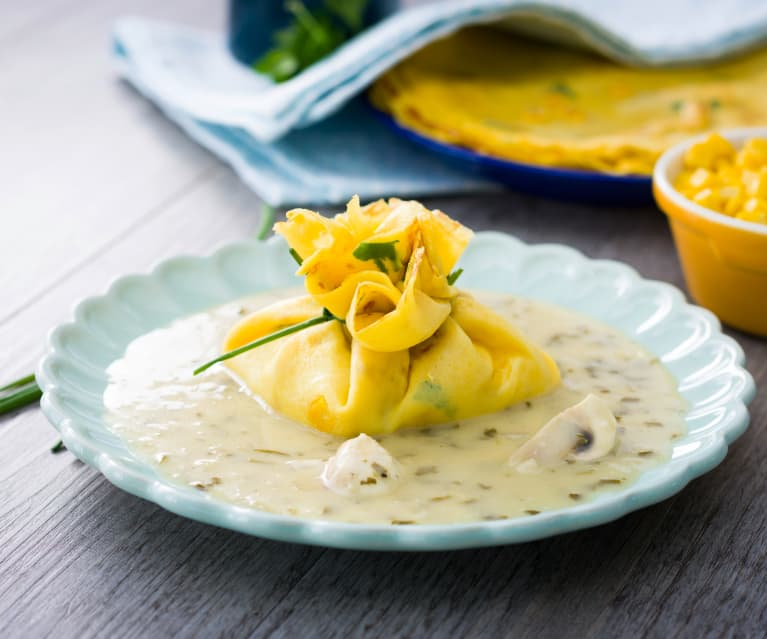 Crêpes de maíz dulce rellenas de pescado con champiñones