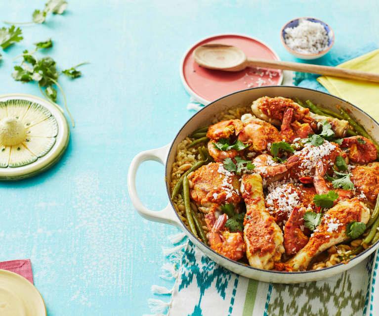 Karibische Paella aus dem Ofen