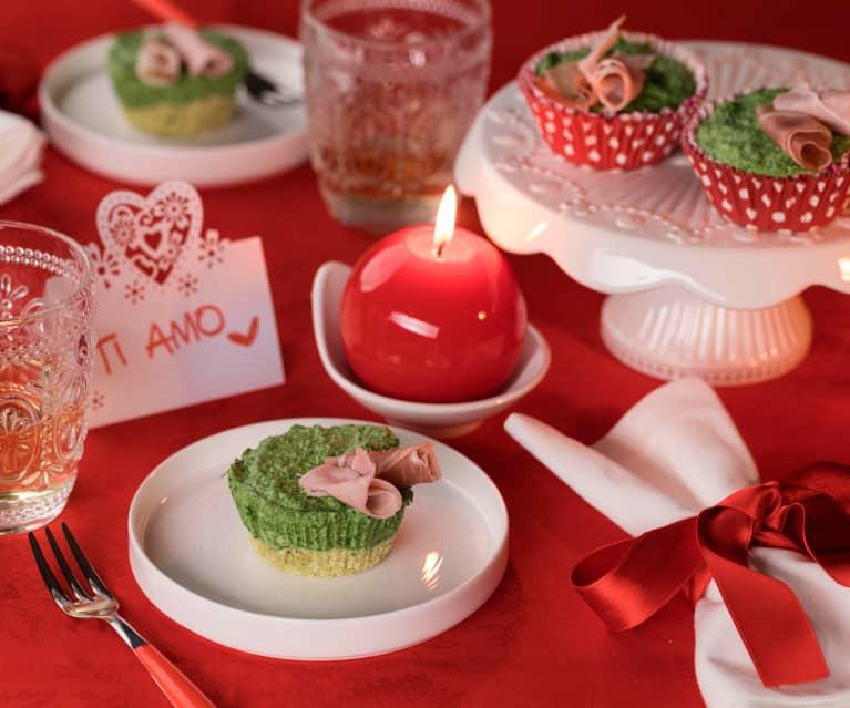 Mini fiori di cheesecake agli spinaci