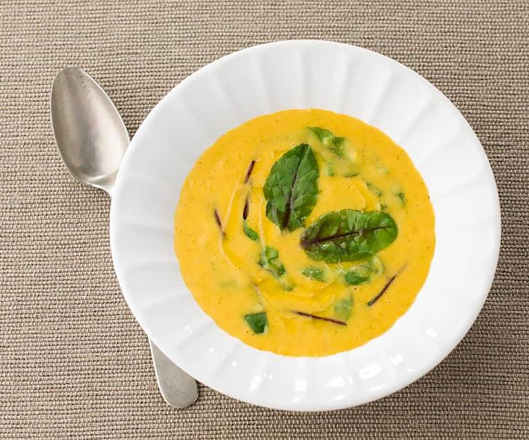 Sopa de lentilhas e acelgas vermelhas