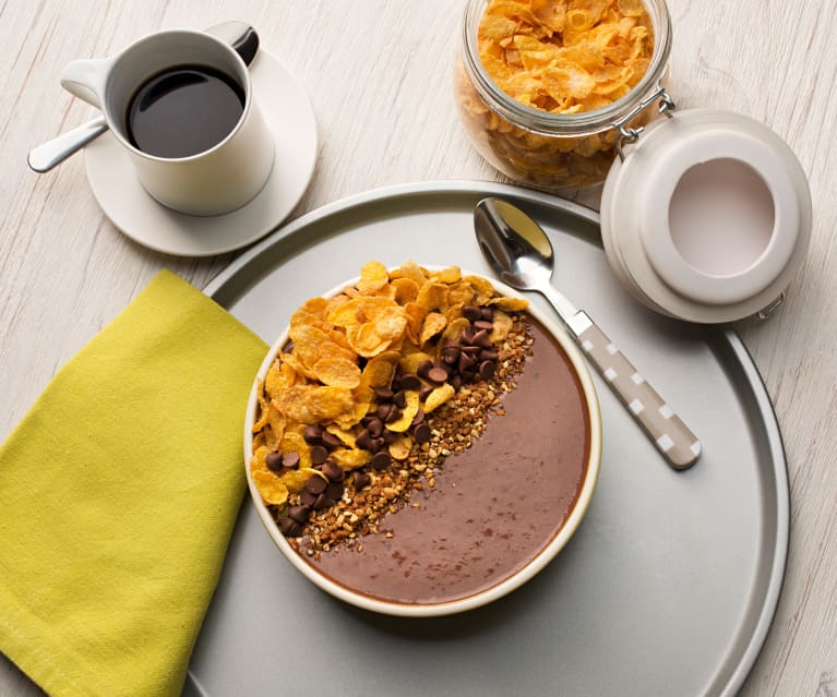 Smoothie bowl de avena con chocolate