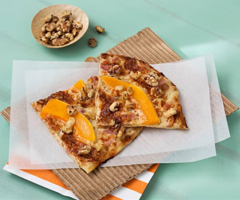 Pizza alsaciana de calabaza y gorgonzola (Flammkuchen)