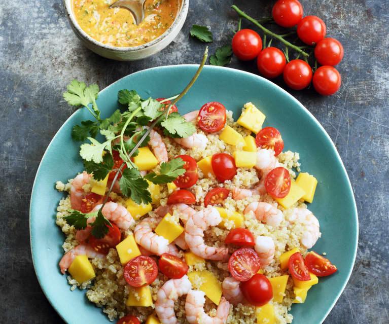 Taboulé de quinoa exotique aux crevettes