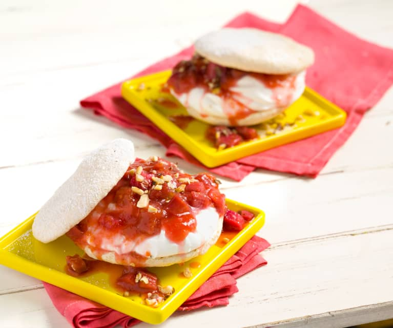 Hazelnut Meringues with Rhubarb & Cream Filling
